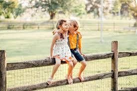 two cute funny caucasian children boy