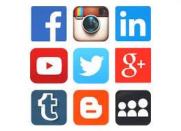 social media logos. collection of popular social media logos printed on paper stock photo