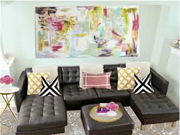 Living Room Black Leather Sofa Living Room Wonderful Colorful Abstract Art On Canvas Ideas For