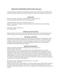 Biology Resume Industry Research Applicant University Department Of