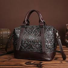 fashion women genuine embossed leather handbag vintage trend casual female cross messenger shoulder bag las tote bags new in top handle bags from