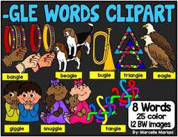 final le syllables gle ending words clip art