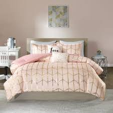 Intelligent Design Khloe Blush/ Gold Printed Metallic Dot Gold 5 Piece Comforter  Set