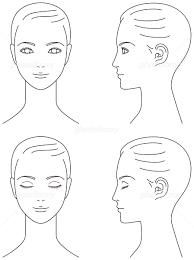 女性の顔 正面と横顔 イラスト素材 4730259 フォトライブラリー