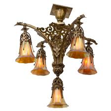 victorian gothic five arm chandelier with period art glass shades for