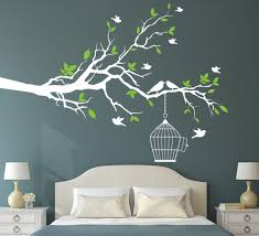 >tree branch wall art sticker with bird cage removable vinyl wall  tree branch wall art sticker with bird cage removable vinyl wall decals wall stickers for living room home office decor in wall stickers from home garden