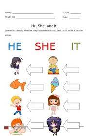 It's important for students to learn to. He She Worksheet Teachers Pay Teachers