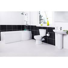 White Bathroom Suite Splash Right Hand P Shape Shower Bath Bathroom Suite With Taps