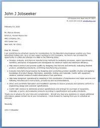 Cover Letter For Manufacturing Engineer Creative Resume Design