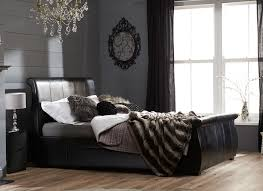 manhattan black bonded leather bed frame  dreams