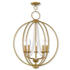 5 light antique gold leaf chandelier