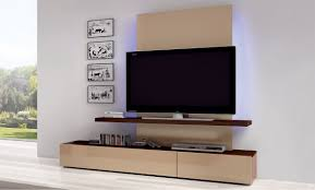 minimalist wall mounted TV cabinet with light brown color also white wall  paint color and comely picture frames also DVD player and some DVDs also  white ...