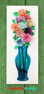Paper Flower Bouquet In Vase Diy Paper Flower Wall Art Mason Jars Vases Jennifer Maker