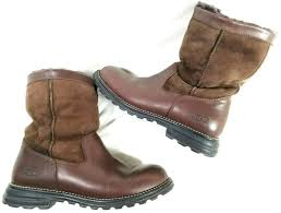 ugg boots brooks 5381 brown leather suede sheepskin rubber sole f8004f womens 9 34 99