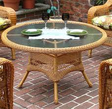42 round x 24 high resin wicker conversation table with umbrella hole golden