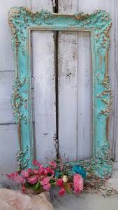 large ornate vintage frame aqua accented gold shabby chic romantic wall home decor anita spero antique dresser framed leaning mirror shabby chic