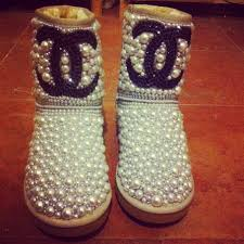 chanel uggs. customised medium boots chanel uggs