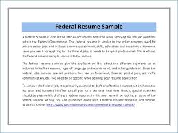 Federal Job Resume Format Resume Example