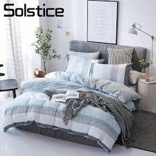 solstice home textile blue stripe nordic simple bedding set white gray duvet cover pillowcase sheet boy teen girl bed linen kits lime green bedding duvets