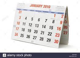 2010 Calendar January 2010 Calendar Showing January Page On White Background Stock Photo