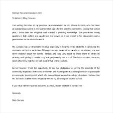 High School Recommendation Letter For Student Example Recommendation Letter For Student 7 Reference
