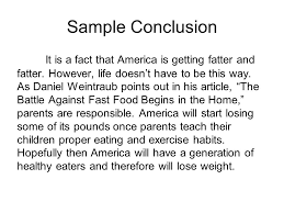 fast food essay ppt video online  sample conclusion