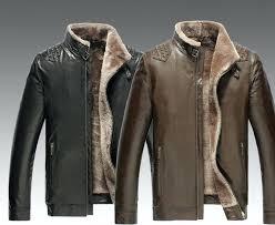 mens fur collar jacket genuine leather fur collar fleece warm jacket coat trench parka outwear new mens fur collar jacket