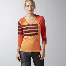 reebok 3 4 sleeve. reebok crossfit cool soul 3/4 tee with electric peach/laser red + au9116246 3 4 sleeve