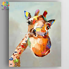 hand painted canvas oil painting cartoon canvas art cute lovely giraffe picture abstract kid room decoration animal wall picture in painting calligraphy