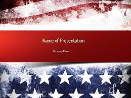 Painted American Flag Powerpoint Template Backgrounds