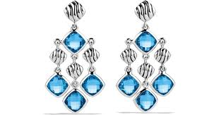 lyst david yurman sculpted cable chandelier earrings with blue topaz in blue