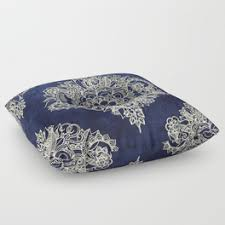 moroccan floor pillows. Wonderful Pillows Cream Floral Moroccan Pattern On Deep Indigo Ink Floor Pillow With Pillows B