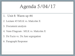 Differences Between Mlk And Malcolm X Venn Diagram Agenda 5 04 17 Unit 8 Warm Up 6 Lecture 5 Mlk Vs Malcolm X Ppt