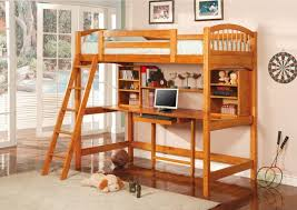Here's another rich wood loft bed, featuring an array of shelving options  above the centrally