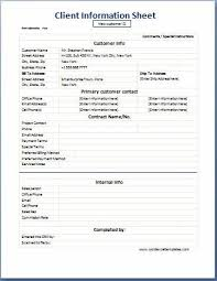 Business Format Client Information Sheet Microsoft Templates