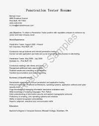 Penetration Tester Resume Resume Work Template