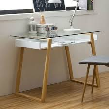 Desk glass top Ikea Desk Quickview Wayfair Glass Desks Youll Love Wayfair