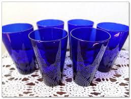 vintage set of 6 cobalt blue drinking glasses tumbler dark blue water glass manufactured by libbey