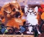 Раскраска по номерам котёнок с щенком