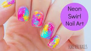 Neon Swirl Nail Art - YouTube