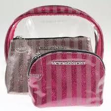victoria s secret cosmetic bag trio makeup case set clear pink glitter stripe