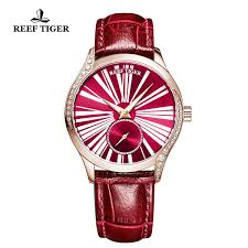 reef tiger love highness ultra thin rose gold red dial leather strap automatic watches rga1561