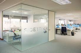 glazed partition wall with sidetrade logo office glass design92 glass