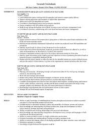 Software Qa Manager Resumes Software Quality Assurance Manager Resume Samples Velvet Jobs