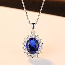<b>Elegant Oval Princess Diana</b> William Sapphire Pendant Necklace ...