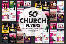 church flyer bundle photos graphics fonts themes templates 50 church flyers bundle