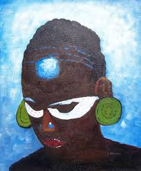 african art tribe black portrait leader oil painting
