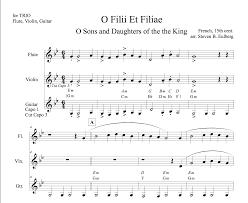 Cut Capo Chord Chart O Filii Et Filiae Acoustic Trio Arrangement