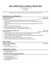 Resume For Bus Driver Template