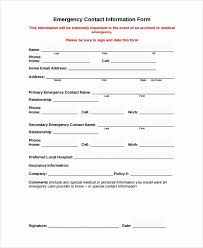 Emergency Contacts Form Template Lovely 9 Sample Contact